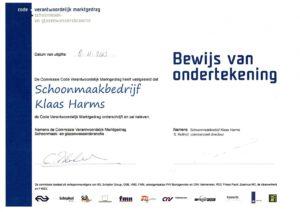 Code VMG Schoonmaakbedrijf Klaas Harms